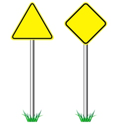 Yellow warning information road signs with grass vector image