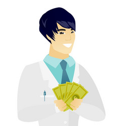 Young asian doctor holding money vector