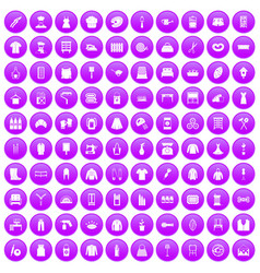 100 needlework icons set purple vector