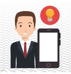 Smartphone man app connected vector