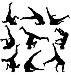 set black silhouettes breakdancer on a white vector image
