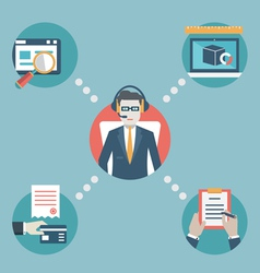 Businessman manage business resources vector