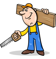 Worker with saw cartoon vector