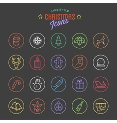 Line Style Christmas and New Year Color Icon Set vector image