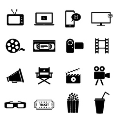 Set of icons - cinema movies and film industry vector