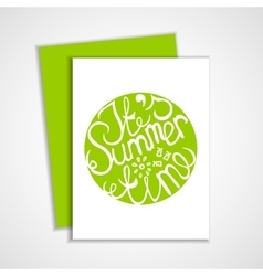 Card with green summer lettering element vector
