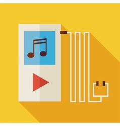 Flat music player with long shadow vector