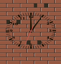 Brick wall clock vector