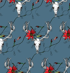 Deer skull and passion flower blue pattern vector