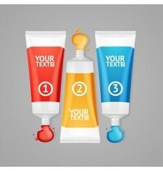 Colorful paint tubes set menu banners option vector