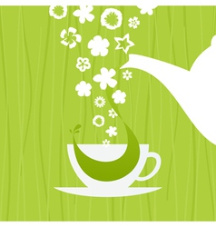 A cup green tea vector