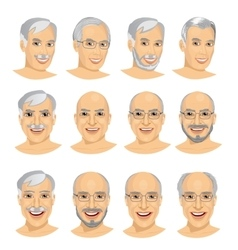 Set of mature man avatar with different hairstyles vector