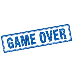 Game over blue square grunge stamp on white vector