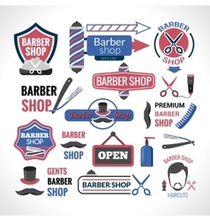 Barber shop symbols signs labels collection vector image vector image