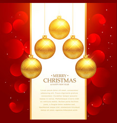 Beautiful red background with golden christmas vector