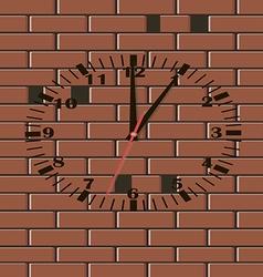 Brick wall clock vector image