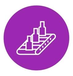 Conveyor belt system line icon vector image