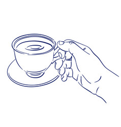Cup of fragrant coffee in hand vector