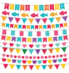 Festa Junina bunting flags set vector image vector image
