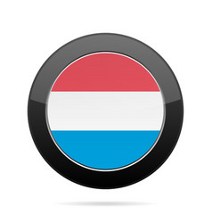 Flag of luxembourg shiny black round button vector