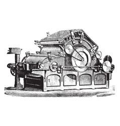 Flat carding machine vintage vector