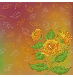 Flowers and leafs contours vector image