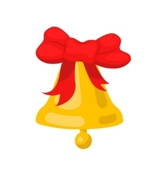 Golden bell cartoon wit red bow ribbon vector