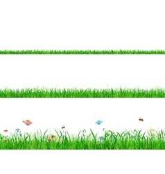 Green grass banner collections with flowers vector image