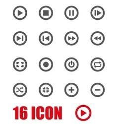 grey media buttons icon set vector image