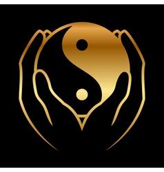 hands holding yin yang symbol vector image vector image