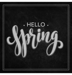 Hello Spring lettering chalk design vector image vector image