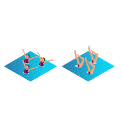 Isometric womans athlete on the performance of vector