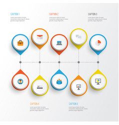 Job flat icons set collection of chatting vector