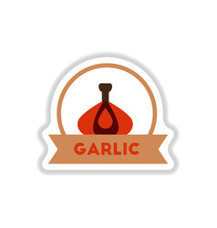 label icon on design sticker collection garlic vector image