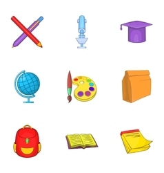 Learning in school icons set cartoon style vector