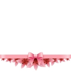 Lily banner on a white background with pink bow vector