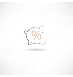 line pig moneybox vector image
