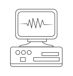 Monitor heartbeat cardiology rhythm pictogram vector