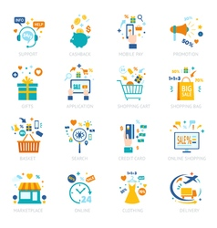 Online shopping icons set vector