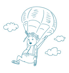 Parachutists sketch style vector