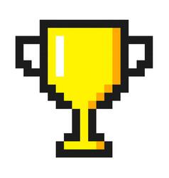 Pixel art golden cup award trophy icon vector