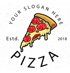 Pizza est 2018 white background image vector