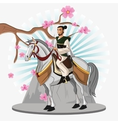 Samurai and horse cartoon design vector