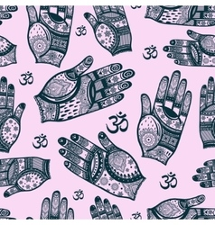 Seamless tribal pattern with hands vector