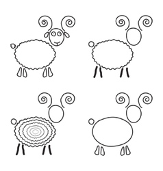 set of sketch sheep like symbol of 2015 year vector image