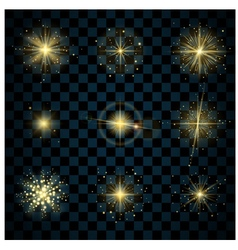 Shine gold stars glitters vector