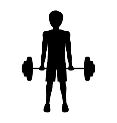 Silhouette man weightlifting initial position vector