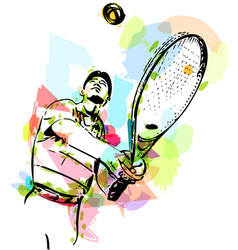 sketch of one man tennis player at service vector image vector image