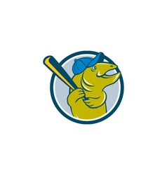 Trout fish baseball batting circle cartoon vector