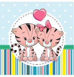 two cute cartoon tigers vector image vector image